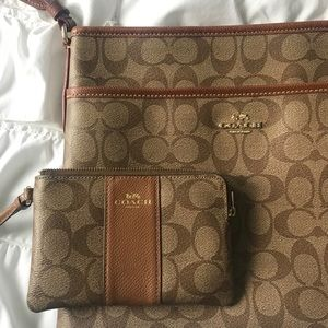 Coach oversized satchel & wristlet matching set